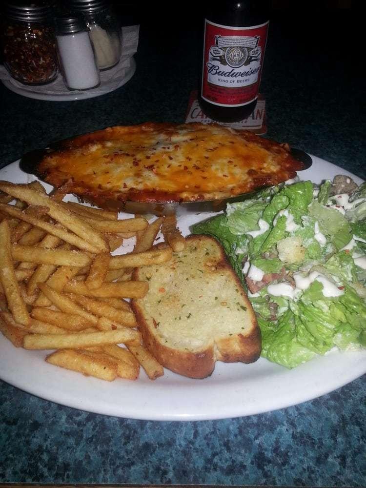 Poco Loco Lasagna, Salad, & Fries